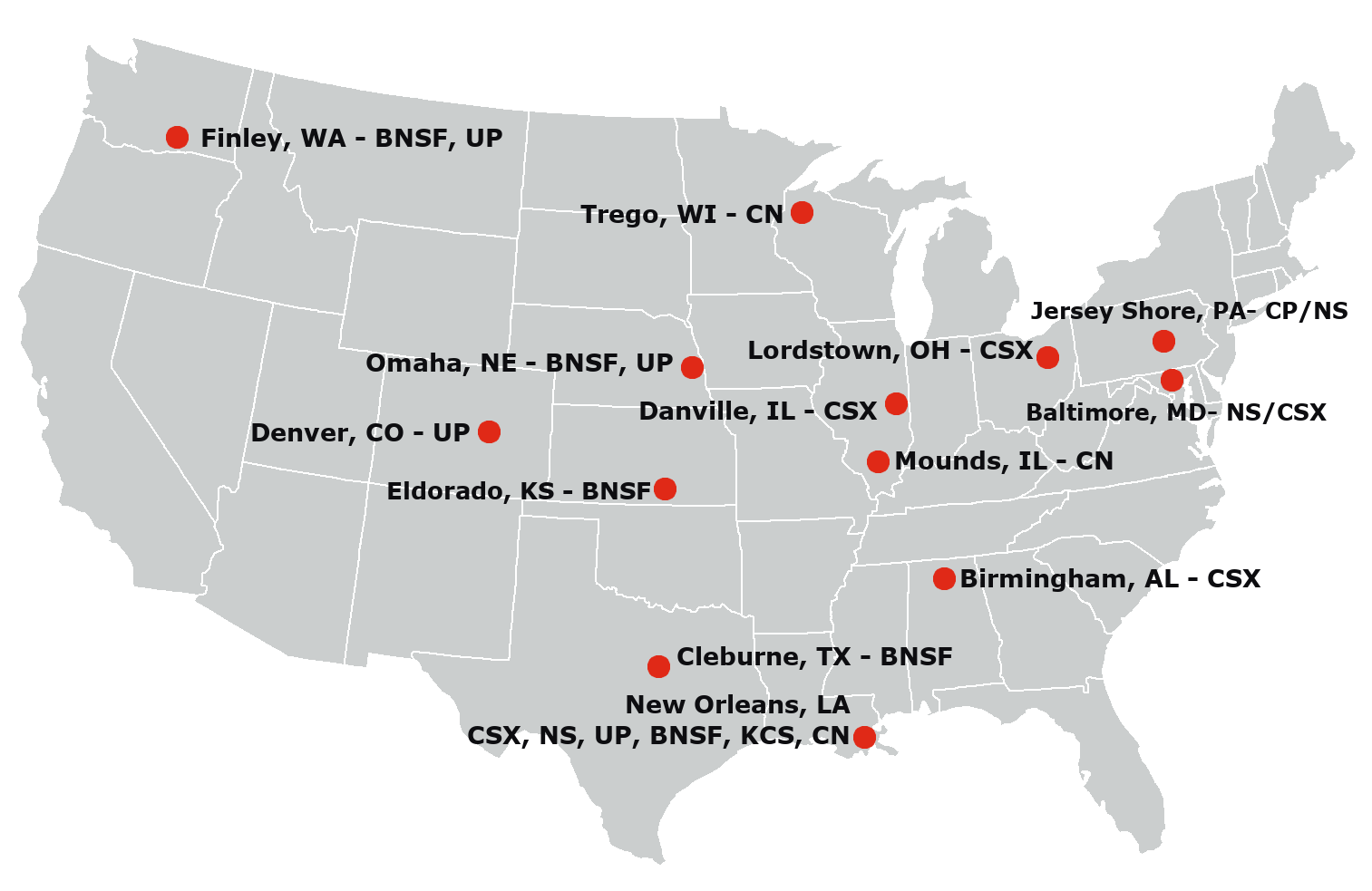 CRMS - Railcar Cleaning & Maintenance Locations
